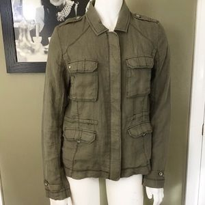 Michael Stars 100% Linen Jacket S Military Green